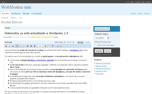 Captura Panel WordPress 2.5 en Webnostra